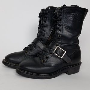 Vibram black leather boots 6.5M work biking